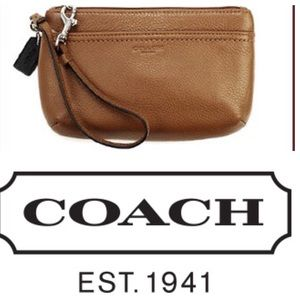 Coach Parker Brown Leather Wristlet
